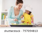 family  cooking  baking and... | Shutterstock . vector #757054813