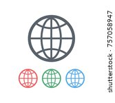 the globe with meridians.... | Shutterstock .eps vector #757058947