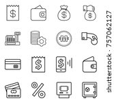 thin line icon set   receipt ... | Shutterstock .eps vector #757062127