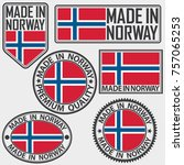 made in norway label set with... | Shutterstock .eps vector #757065253