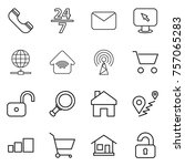 thin line icon set   phone  24... | Shutterstock .eps vector #757065283