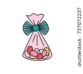bag with candy almonds sweet... | Shutterstock .eps vector #757072237