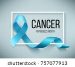realistic blue ribbon  world... | Shutterstock . vector #757077913