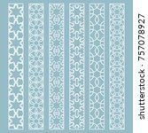 vector set of line borders with ... | Shutterstock .eps vector #757078927