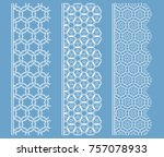 vector set of line borders with ... | Shutterstock .eps vector #757078933