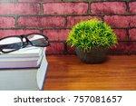 books  desk clock  glasses and... | Shutterstock . vector #757081657