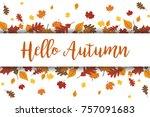 hello autumn leaves vector... | Shutterstock .eps vector #757091683