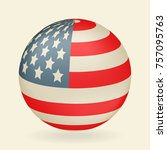 us flag in the shape of a ball. ... | Shutterstock .eps vector #757095763