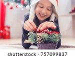 small girl shows a felt...   Shutterstock . vector #757099837