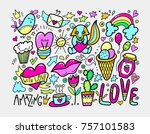 set of cute doodle modern... | Shutterstock .eps vector #757101583
