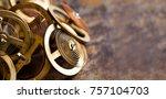 antique clock mechanism... | Shutterstock . vector #757104703