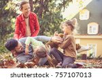 mommy and sisters tickling... | Shutterstock . vector #757107013