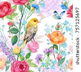 Stock photo seamless pattern watercolor beautiful ornament of floral roses bird and butterfly 757125697