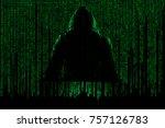 hacker in front of his computer.... | Shutterstock . vector #757126783
