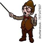 boy with teacher's pointer | Shutterstock .eps vector #757147507