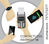 contactless payments set. pos... | Shutterstock .eps vector #757172377