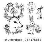 christmas deer and animal with... | Shutterstock .eps vector #757176853