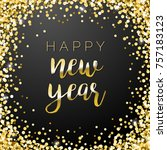 happy new year square gold... | Shutterstock .eps vector #757183123