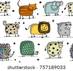 funny animals  seamless pattern ... | Shutterstock .eps vector #757189033
