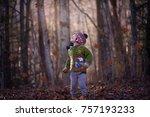 a little boy is watching the... | Shutterstock . vector #757193233