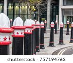 Small photo of London, November 2017. A row of bollards on Fetter Lane in Holborn.