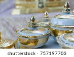 benjarong  a traditional thai...   Shutterstock . vector #757197703
