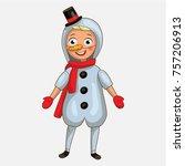 boy cute snowman | Shutterstock .eps vector #757206913