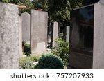 tombstones in a cemetery in... | Shutterstock . vector #757207933