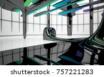 abstract dynamic interior with...   Shutterstock . vector #757221283