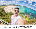 handsome man taking a selfie on ... | Shutterstock . vector #757243873