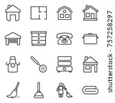 thin line icon set   home  plan ... | Shutterstock .eps vector #757258297