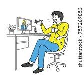 businessman sitting at his desk ...   Shutterstock .eps vector #757269853