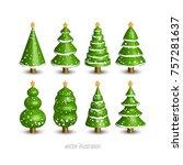 christmas tree 3d vector...   Shutterstock .eps vector #757281637