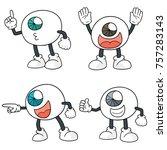vector set of cartoon eye | Shutterstock .eps vector #757283143