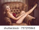 seductive sexy gorgeous middle... | Shutterstock . vector #757295863