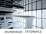 abstract dynamic interior with... | Shutterstock . vector #757296913