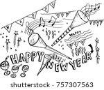 happy new year  sketch   Shutterstock .eps vector #757307563