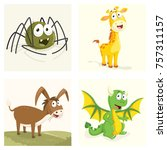cartoon animals set | Shutterstock .eps vector #757311157