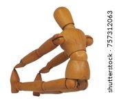 wooden figure yoga seated... | Shutterstock . vector #757312063
