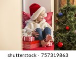 happy family. a small girl in a ... | Shutterstock . vector #757319863