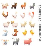 farm animals cartoon icons set... | Shutterstock . vector #757338973