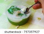 black coconut sweet pudding ... | Shutterstock . vector #757357927