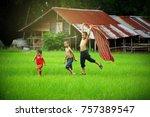 children runing in the backyard ... | Shutterstock . vector #757389547