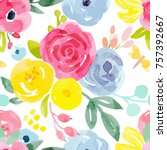 watercolor vector floral... | Shutterstock .eps vector #757392667