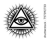 all seeing eye of god   the eye ... | Shutterstock .eps vector #757392733