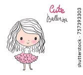 cute ballerina with curly hair... | Shutterstock .eps vector #757393303