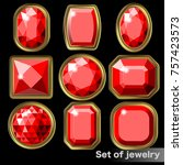set of red gems ruby of various ... | Shutterstock .eps vector #757423573