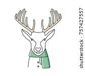 winter deer dressed with warm... | Shutterstock .eps vector #757427557