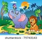 african scenery with animals 4  ... | Shutterstock .eps vector #75743143