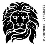an illustration of a lions head ... | Shutterstock .eps vector #757436983